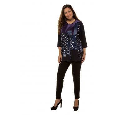 Ulla Popken  Shirt Damen 58/60, mitternachtsblau, Viskose, Mode in großen Größen