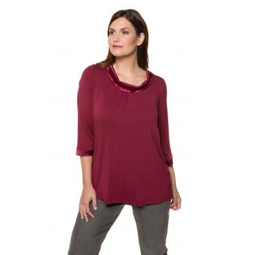Ulla Popken  Shirt Damen 54/56, dunkelrot, Viskose, Mode in großen Größen