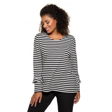 Ulla Popken Shirt Damen, offwhite/schwarz, Baumwolle, Mode in großen Größen