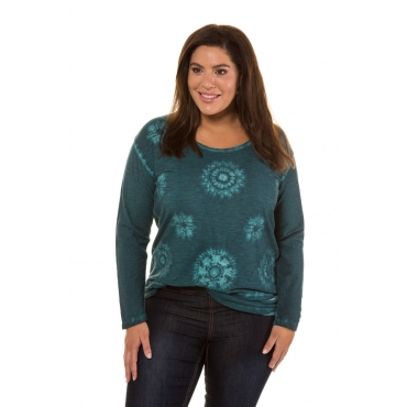 Ulla Popken  Shirt Damen 54/56, petrolgrün, Baumwolle, Mode in großen Größen
