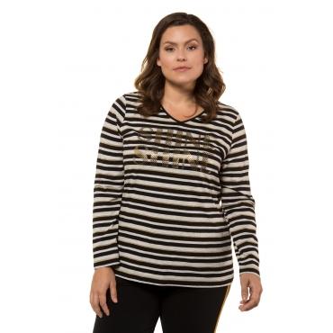 Ulla Popken Shirt Damen, schwarz/gold, Baumwolle, Mode in großen Größen