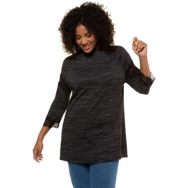 Ulla Popken  Shirt Damen 58/60, schwarz-melange, Viskose, Mode in großen Größen