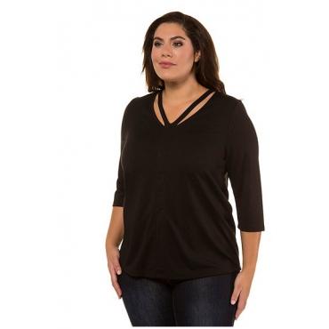 Ulla Popken Damen  Shirt, dekorativer Ausschnitt, Classic, 3/4-Arm, schwarz, Gr. 58/60, Mode in großen Größen