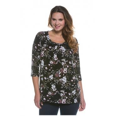Ulla Popken Damen  Shirt, dekorativer Rundhalsausschnit, A-Linie, 3/4-Arm, schwarze traube, Gr. 58/60, Mode in großen Größen