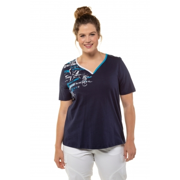 Ulla Popken Damen  T-Shirt, zweifarbiger Herzausschnitt, Classic, Seestern, dunkelblau, Gr. 58/60, Mode in großen Größen