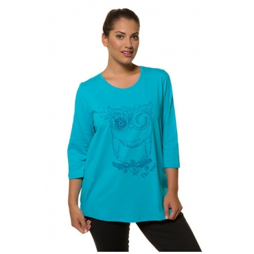 Ulla Popken Damen  Shirt, Eulenmotiv, Classic, Glitzersteinchen, 3/4-Arm, türkis, Gr. 58/60, Mode in großen Größen
