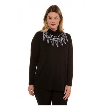 Ulla Popken Damen  Shirt, Fancy-Stickerei, Classic, Zierperlen, selection, schwarz, Gr. 58/60, Mode in großen Größen