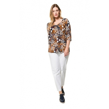 Ulla Popken Damen  Shirt, fantasievolles Design, Herzausschnitt, 3/4-Arm, mehrfarbig, Gr. 58/60, Mode in großen Größen