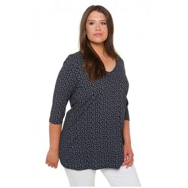 Ulla Popken Damen  Shirt, fein gemustert, A-Linie, V-Ausschnitt, 3/4-Arm, marine, Gr. 50/52, Mode in großen Größen