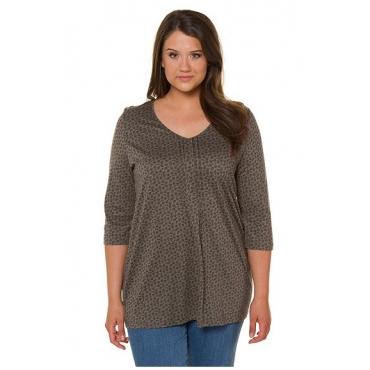 Ulla Popken Damen  Shirt, fein gemustert, A-Linie, V-Ausschnitt, 3/4-Arm, mattes oliv, Gr. 54/56, Mode in großen Größen