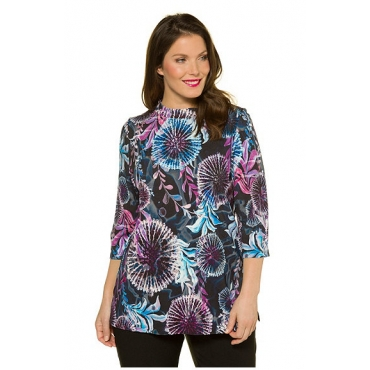 Ulla Popken Damen  Shirt, florales Design, Classic, selection, mehrfarbig, Gr. 58/60, Mode in großen Größen