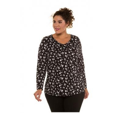 Ulla Popken Damen  Shirt, florales Muster, A-Linie, Biesen, V-Ausschnitt, schwarz, Gr. 58/60, Mode in großen Größen