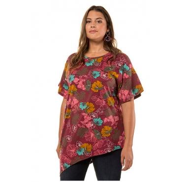 Studio Untold Damen  Shirt, geblümt, asymmetrischer Saum, Halbarm, mehrfarbig, Gr. 54/56, Mode in großen Größen