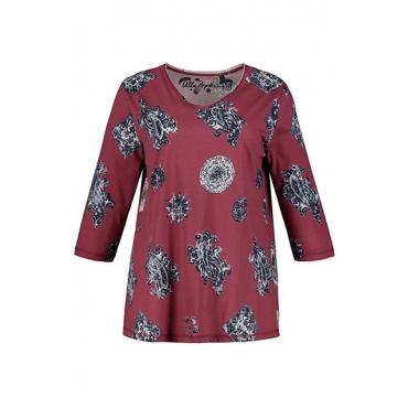 Ulla Popken Damen  Shirt, geblümt, Regular, V-Ausschnitt, 3/4-Arm, matte beere, Gr. 58/60, Mode in großen Größen