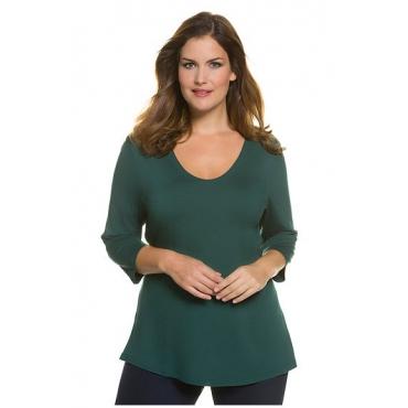 Ulla Popken Damen  Shirt, gedoppelte Vorderseite, Slim, Crêpe, selection, dunkelgrün, Gr. 58/60, Mode in großen Größen