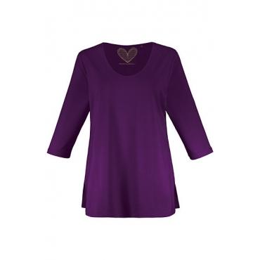 Ulla Popken Damen  Shirt, gedoppelte Vorderseite, Slim, Crêpe, selection, dunkletraube, Gr. 58/60, Mode in großen Größen