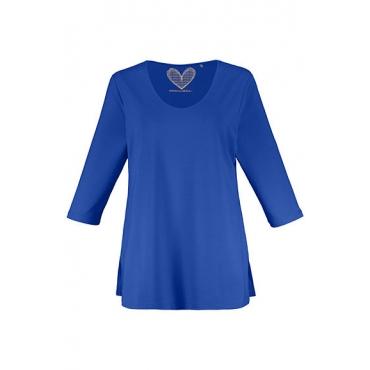 Ulla Popken Damen  Shirt, gedoppelte Vorderseite, Slim, Crêpe, selection, hellpetrol, Gr. 58/60, Mode in großen Größen