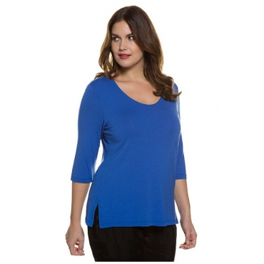 Ulla Popken Damen  Shirt, Slim, doppelte Stofflage, Crêpe, selection, royalblau, Gr. 58/60, Mode in großen Größen
