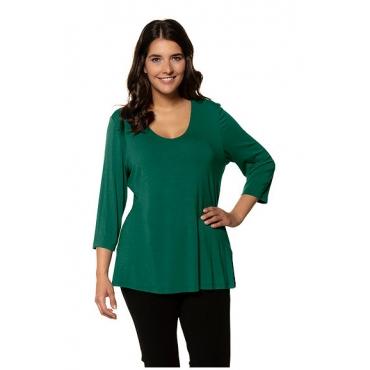 Ulla Popken Damen  Shirt, Slim, doppelte Stofflage, Crêpe, selection, saphirgrün, Gr. 58/60, Mode in großen Größen