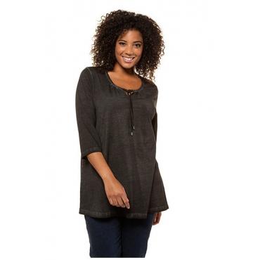Ulla Popken Damen  Shirt, gekräuselter Ausschnitt, A-Linie, 3/4-Arm, schwarz, Gr. 50/52, Mode in großen Größen