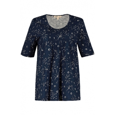 Ulla Popken Damen  T-Shirt, gemustert, Regular, Biesen, Biobaumwolle, rauchblau, Gr. 58/60, Mode in großen Größen