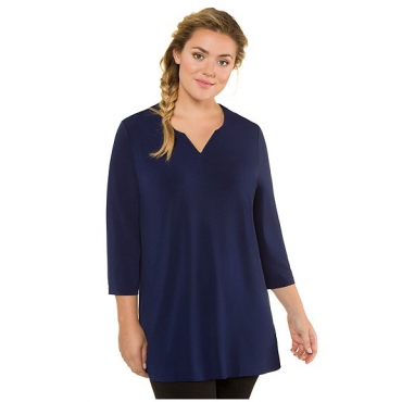 Ulla Popken Damen  Shirt, gemustert, Tunika-Ausschnitt, 3/4-Ärmel, dunkelblau, Gr. 58/60, Mode in großen Größen