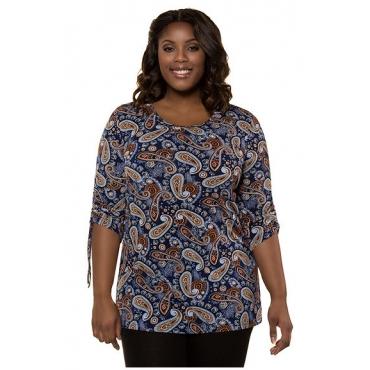 Ulla Popken Damen  Shirt, gemusterter Jersey, 3/4-Ärmel mit Bindeband, mehrfarbig, Gr. 58/60, Mode in großen Größen
