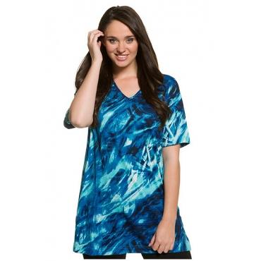 Ulla Popken Damen  Shirt, gemusterter Jersey, Halbarm, länger geschnitten, mehrfarbig, Gr. 58/60, Mode in großen Größen