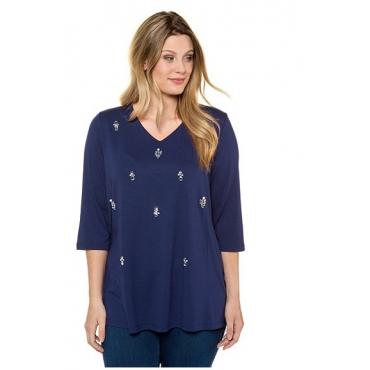 Ulla Popken Damen  Shirt, geschliffene Ziersteine, Classic, Stretchkomfort, dunkelblau, Gr. 58/60, Mode in großen Größen