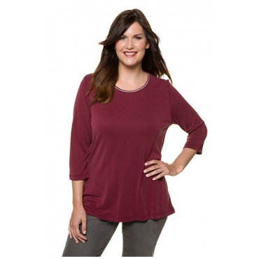 Ulla Popken Damen  Shirt, Glitzerpaspel, Classic, 3/4-Arm, Modal-Jersey, dunkelrot, Gr. 58/60, Mode in großen Größen