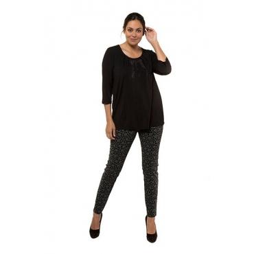 Ulla Popken Damen  Shirt, Glitzerstein-Design, Classic, 3/4-Arm, selection, schwarz, Gr. 58/60, Mode in großen Größen