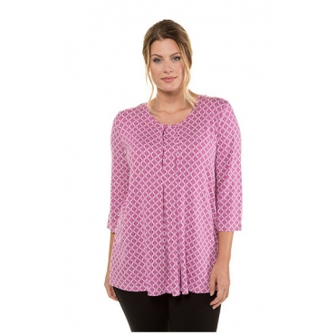 Ulla Popken Damen  Shirt, Grafikmuster, Classic, Zierfalten, Selection, pink, Gr. 58/60, Mode in großen Größen