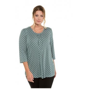 Ulla Popken Damen  Shirt, Grafikmuster, Classic, Zierfalten, Selection, zypresse, Gr. 58/60, Mode in großen Größen