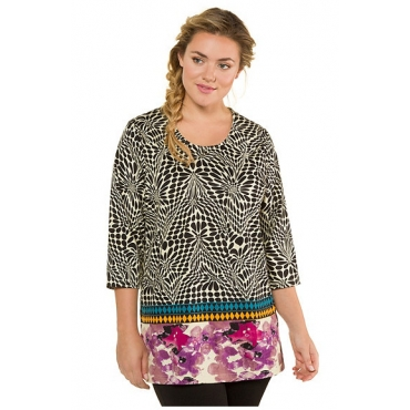 Ulla Popken Damen  Shirt, grafisch gemustert, länger geschnitten, 3/4-Ärmel, mehrfarbig, Gr. 58/60, Mode in großen Größen