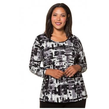 Ulla Popken Damen  Shirt, grafisch gemustert, lange Ärmel, mehrfarbig, Gr. 58/60, Mode in großen Größen
