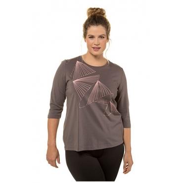 Ulla Popken Damen  Shirt, grafisches Metallic-Motiv, Classic, 3/4-Arm, mittelgrau, Gr. 58/60, Mode in großen Größen