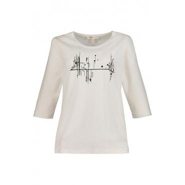 Ulla Popken Damen  Shirt, grafisches Motiv, Classic, 3/4-Arm, Biobaumwolle, offwhite, Gr. 58/60, Mode in großen Größen