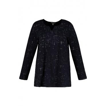 Ulla Popken Damen  Shirt, grafisches Muster, A-Linie, Tunika-Ausschnitt, marine, Gr. 58/60, Mode in großen Größen
