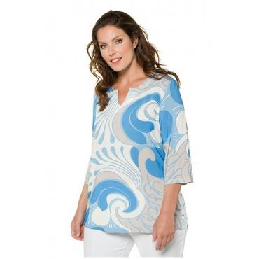 Ulla Popken Damen  Shirt, grafisches Wellenmuster, Classic, 3/4-Arm, selection, blau, Gr. 58/60, Mode in großen Größen