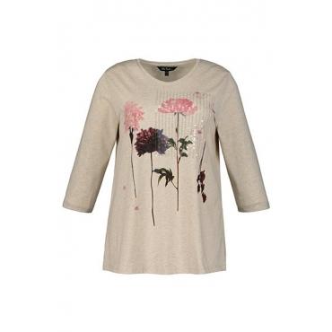 Ulla Popken Damen  Shirt, Blütenmotiv, Paillettenstreifen, grau-melange, Gr. 58/60, Mode in großen Größen