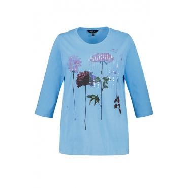Ulla Popken Damen  Shirt, Blütenmotiv, Paillettenstreifen, hellblau, Gr. 58/60, Mode in großen Größen