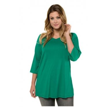 Ulla Popken Damen  Shirt, Herzausschnit, Relaxed, 3/4-Arm, selection, mittelgrün, Gr. 58/60, Mode in großen Größen