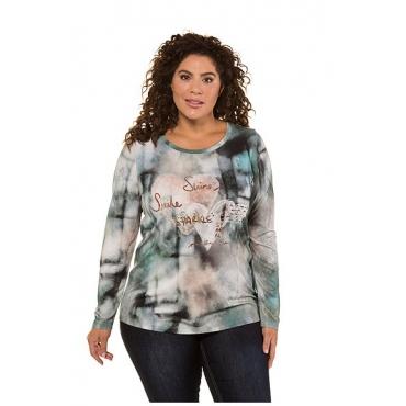 Ulla Popken Damen  Shirt, Herzmotiv, Classic, Aquarellmuster, petrolgrün, Gr. 58/60, Mode in großen Größen