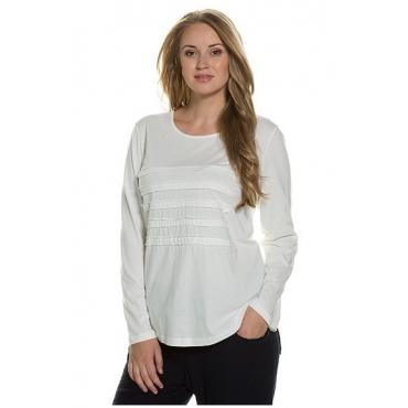 Ulla Popken Damen  Shirt, Jerseystreifen-Applikation, Bio-Baumwolle, PURE, offwhite, Gr. 50/52, Mode in großen Größen
