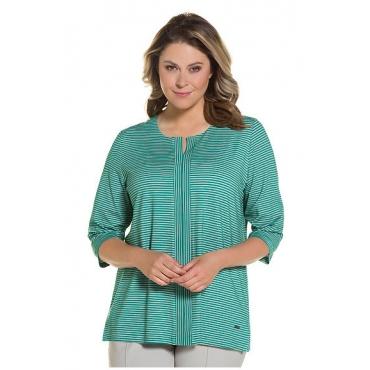 Ulla Popken Damen  Shirt, Keilausschnitt, Figurfreundlich, Crêpe-Jersey, grün, Gr. 58/60, Mode in großen Größen