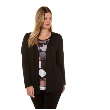 Ulla Popken Damen  Shirt, Lagenoptik, Classic, Glitzersteine, selection, orange-rosa, Gr. 58/60, Mode in großen Größen