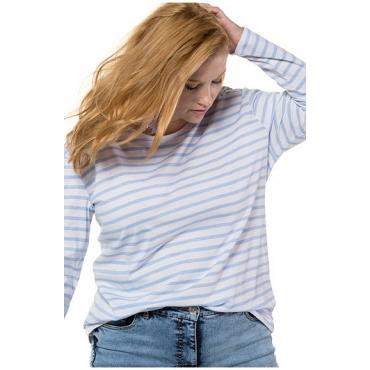 Studio Untold Damen  Shirt, Langarm, Streifen, hellblau, Gr. 46/48, Mode in großen Größen