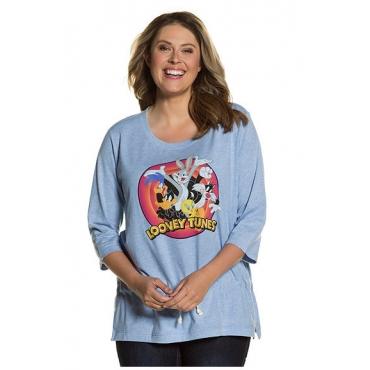 """Ulla Popken Damen  Shirt, """"Looney Tunes""""-Comicmotiv, Tunnelzug, 3/4-Arm, eisblau-melange, Gr. 50/52, Mode in großen Größen"""