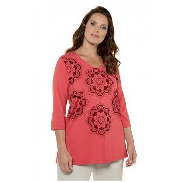 Ulla Popken Damen  Shirt, Mandala-Flockdruck, 3/4-Ärmel, selection, rhabarber, Gr. 54/56, Mode in großen Größen