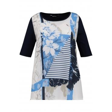 Ulla Popken Damen  T-Shirt, Blütenprint, Classic, Krepp-Vorderseite, marine, Gr. 58/60, Mode in großen Größen